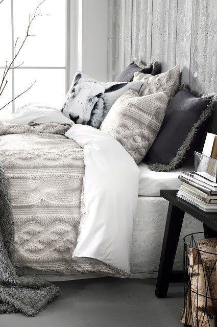 neutral bedding is ideal for winter, it makes you feel cozy