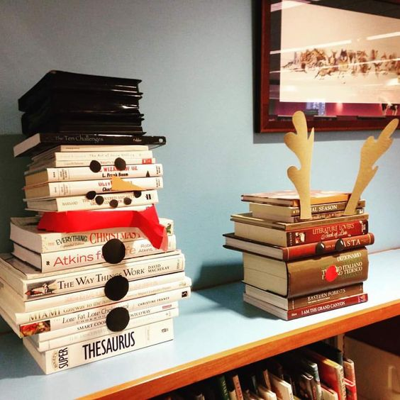 turn a stack of white books into a fun snowman