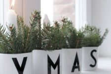 38 XMAS pots with fir branches and candles