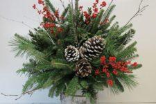 38 small barrel arrangement with evergreens, pinecones and berries