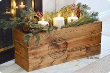 38 vintage crate filled with winter stuff for centerpieces and decor