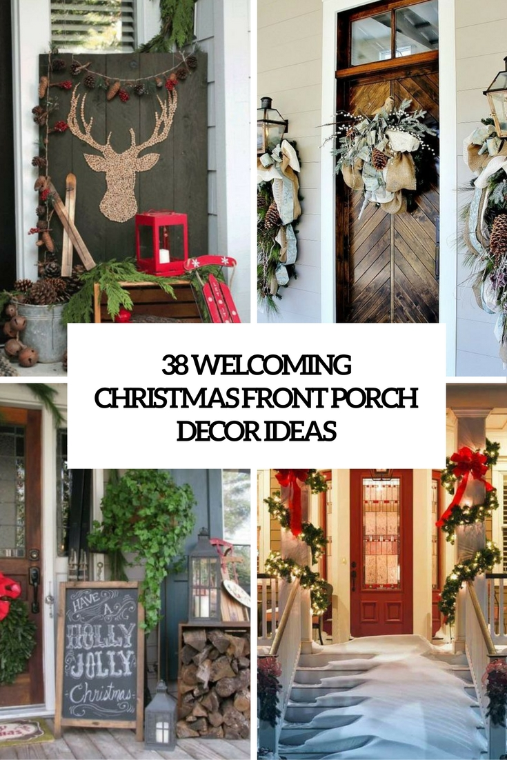 38 welcoming christmas front porch dcor ideas - Decorating Front Porch Urns For Christmas