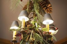 40 oversized pinecones, evergreens and berries for decor