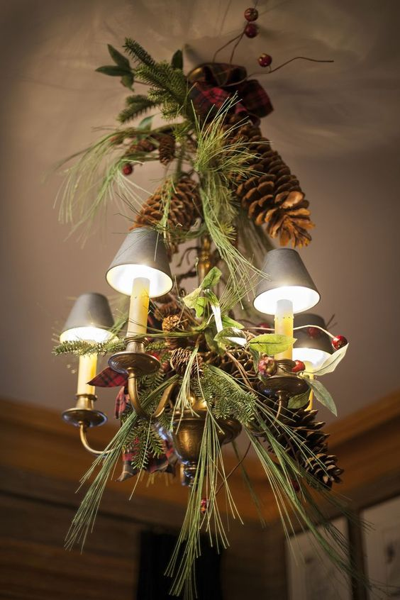 oversized pinecones, evergreens and berries for decor