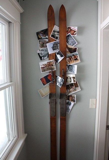 skis can be used for a rustic card and photo display