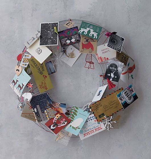 take a wire wreath form to attach cards you get