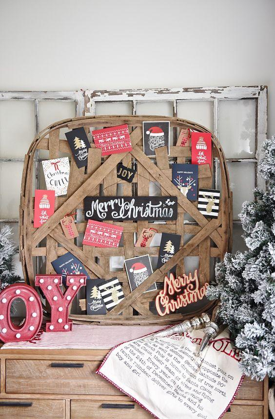 tobacco basket Christmas card holder