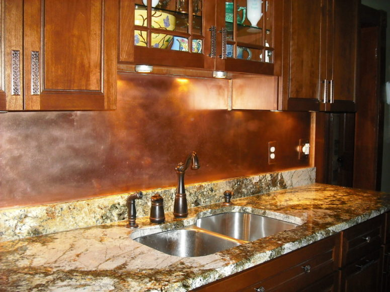 copper backsplashes works in farmhouse-style kitchens too