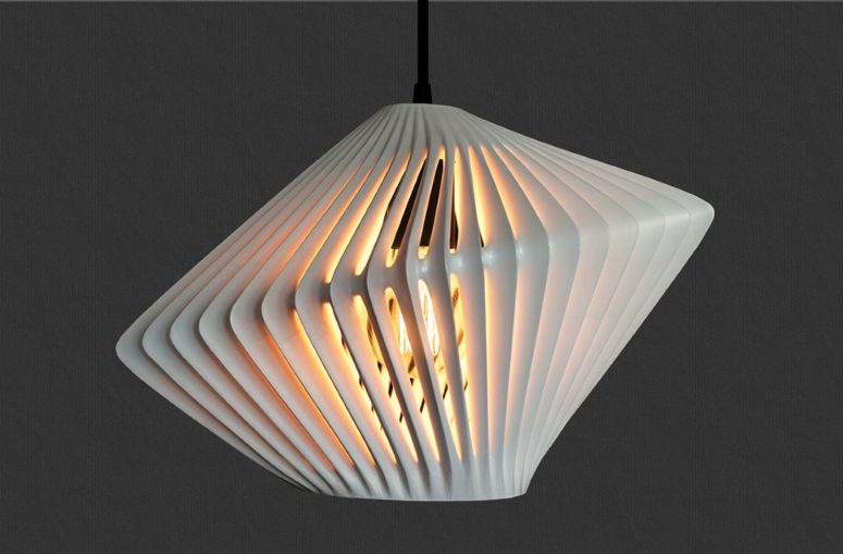 Moder LightCage Pendant Lamp With 3D Printed Lampshade