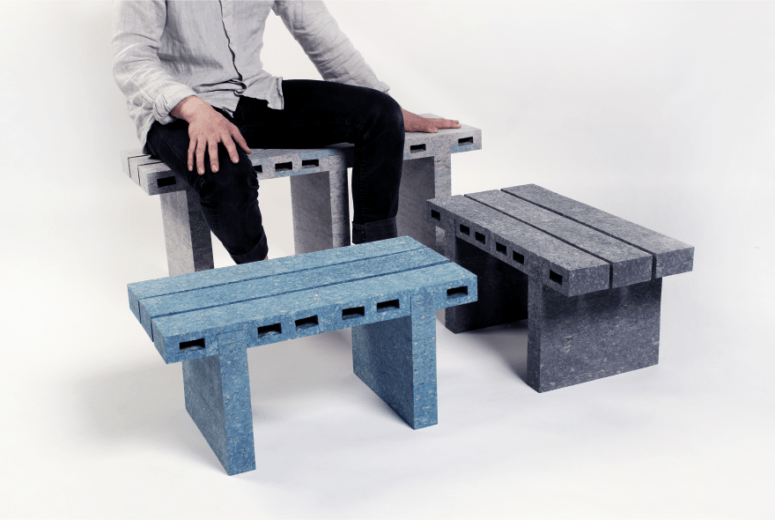 PaperBricks is a range of furniture made of newspaper pulp