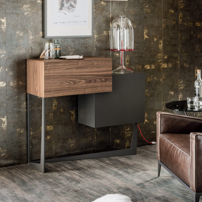 Portos bar cabinet by Andrea Lucatello strikes with contrast, a wooden drawer and a graphite painted one