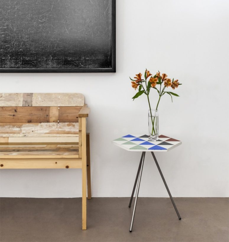 Riad table was inspired by traditional Mediterranean tile making techniques