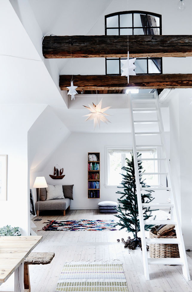 Peaceful Danish Loft Decorated For Winter Holidays