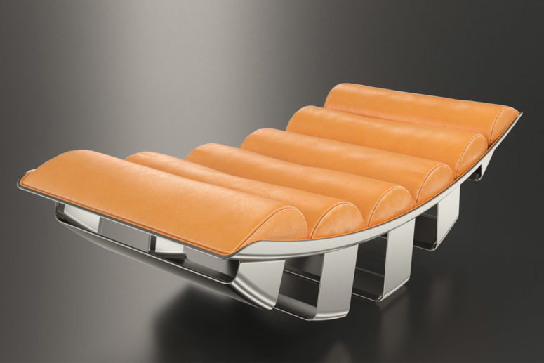 This refined lounger is done in orange leather and inspired by military aircrafts