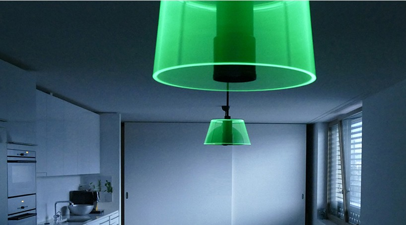 This smart phone controlled LED lamp features an ultra silent motor with low power consumption