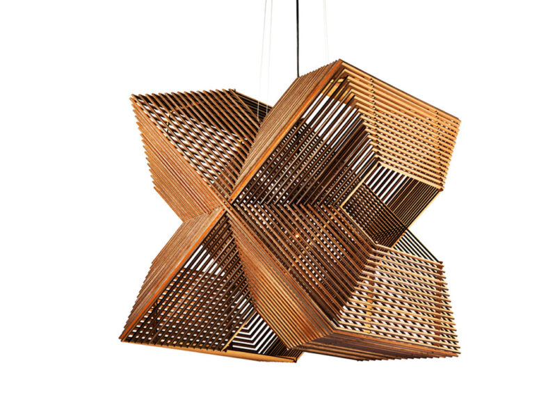 This unique pendant lamp is made of 64 rectangles that had beedn laser cut of MDF