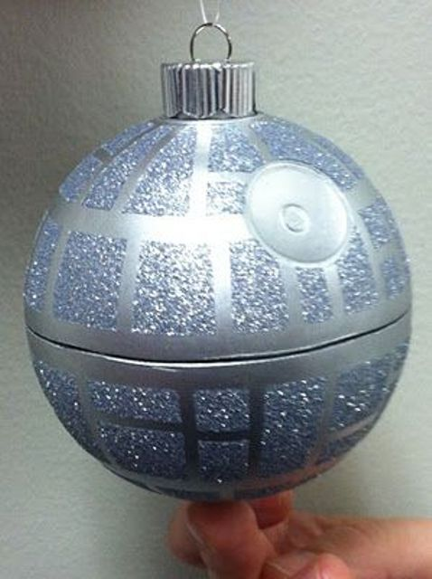 Death Star ornament covered with glitter and with a candy inside