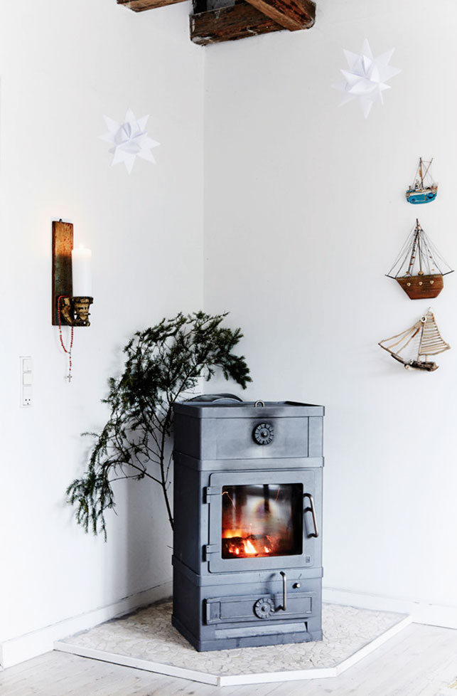 The fireplace acts as a decoration and a source of warmth, too, you know how chilly it may be in the winter