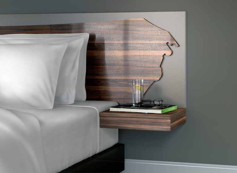 The focal point of the collection is a live-edge headboard, and the rest of the items can complete the look