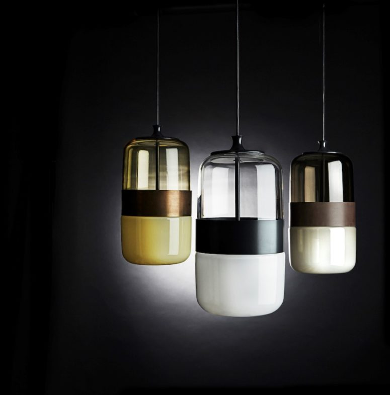 The lower part of the lamp is glass but translucent, which is an innovation from the producer