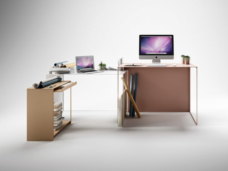 The versatile system goes beyond the functionality of the desk, and you may use it even in a craft room