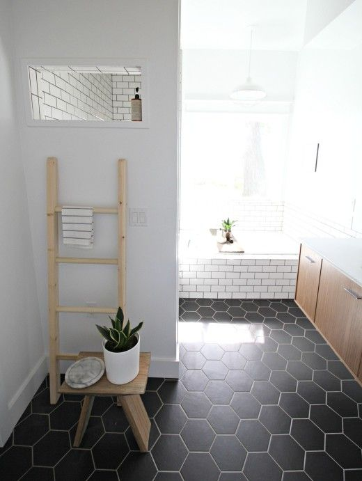 black hex tiles and white grout and white subway tiles with black grout. 39 Stylish Hexagon Tiles Ideas For Bathrooms   DigsDigs