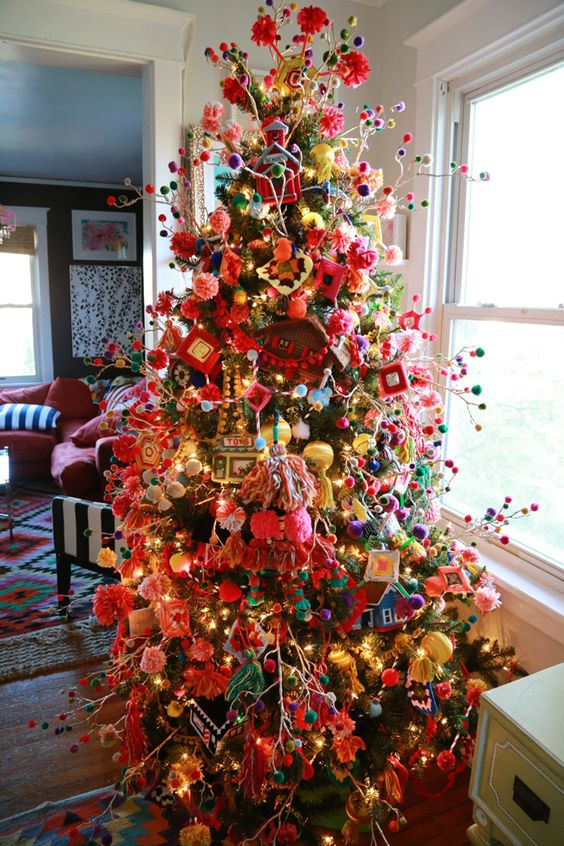 colorful boho chic granny styled tree wiht pompoms