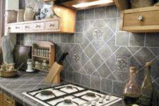 02 grey porcelain tiles on the countertop and backsplash