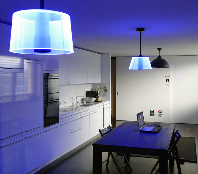 Blue 3D lampshade in the kitchen, with an ambiance light
