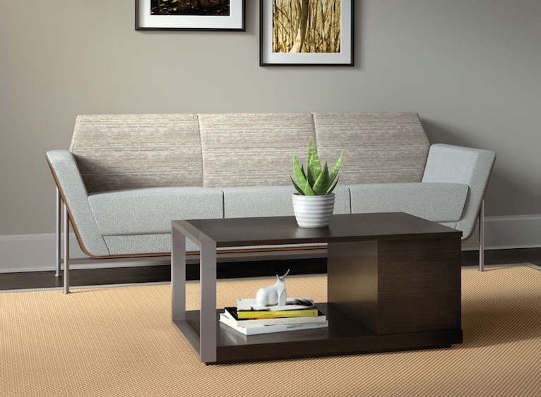 The coffee table is a dark one with a minimalist look, and the light-colored sofa is with sharp angles