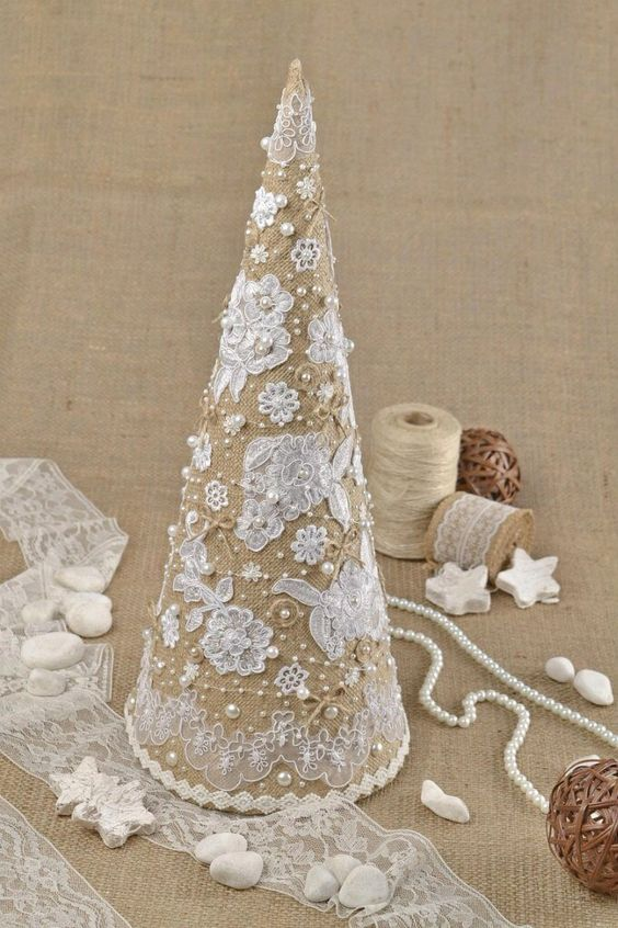 burlap, lace and pearl Christmas tree cone