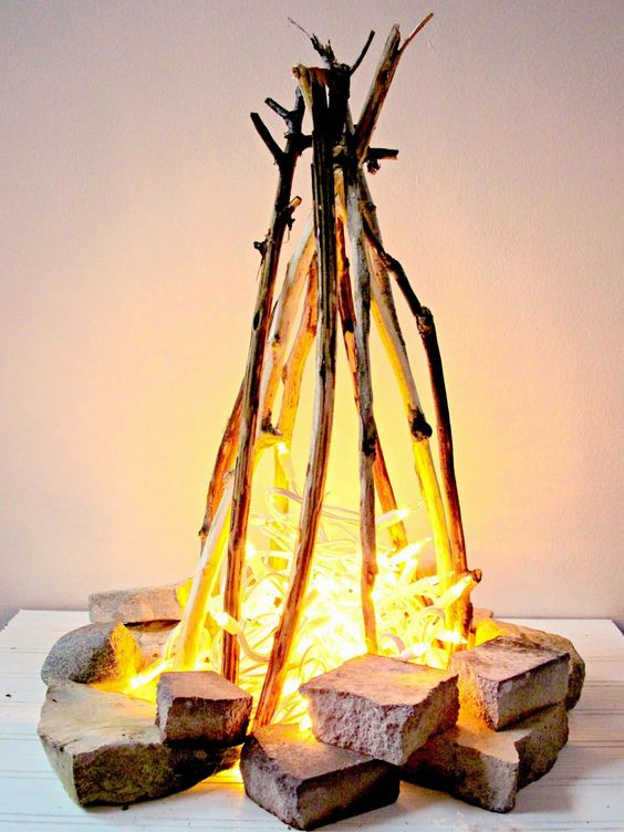 flameless fire pit with string lights can be recreated inside without any problems