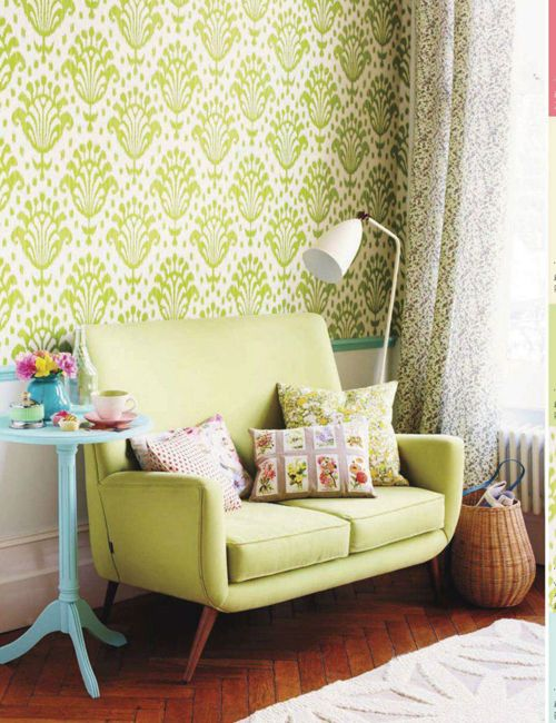 patterned greenery wallpapers and a seat for a living room