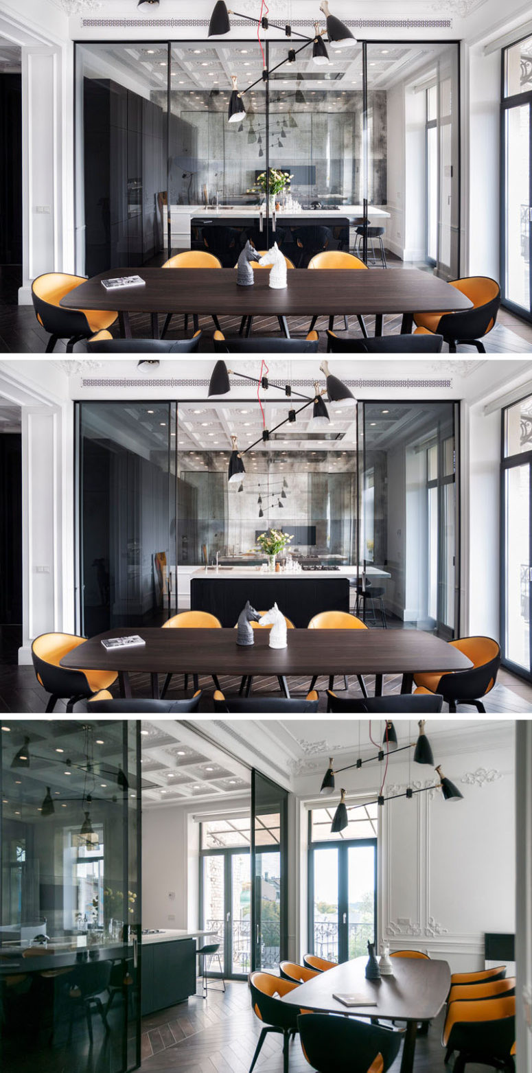 Glass walls partitions divide the space but keep it airy at the same time