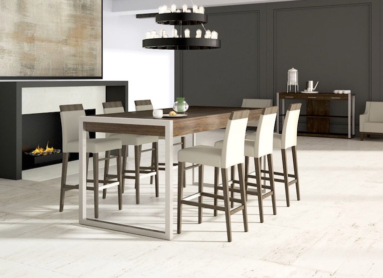 You can complete your dining space with a white and wood table and chairs, done in a minimalist yet sophisticated way