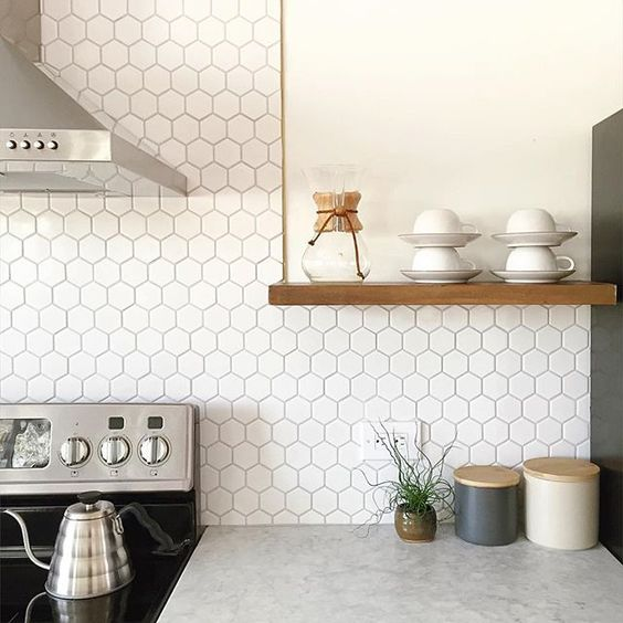 white hex tile backsplash will easily give style to your kitchen