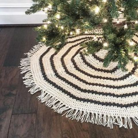 this crocheted tree skirt will add warmth and tons of handmade charm to your holiday decor