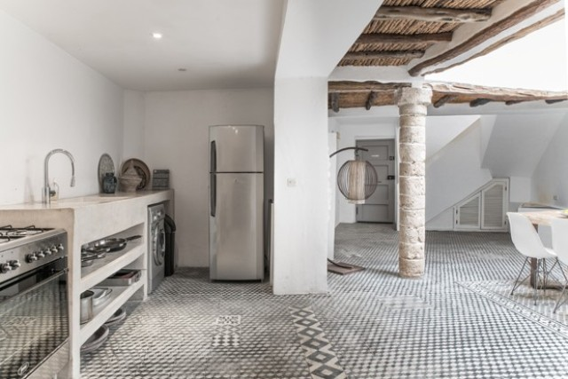 Tiles on the floors are a good choice because they look traditional and work nice for a desert climate
