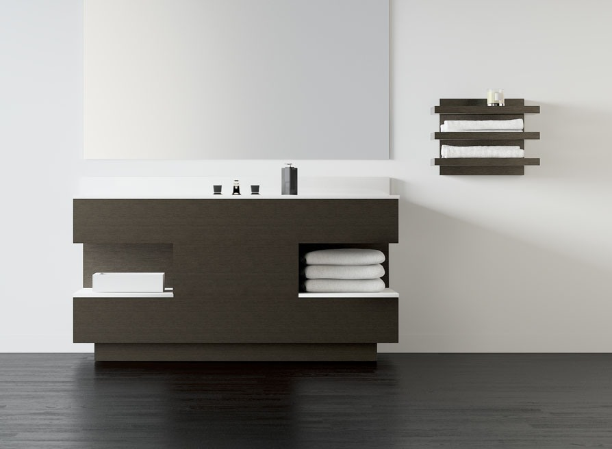 Your bathroom can be completed with a dark colored sleek unit with a lot of storage and a wall shelf for towels