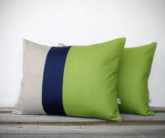 color block pillows with lime green parts