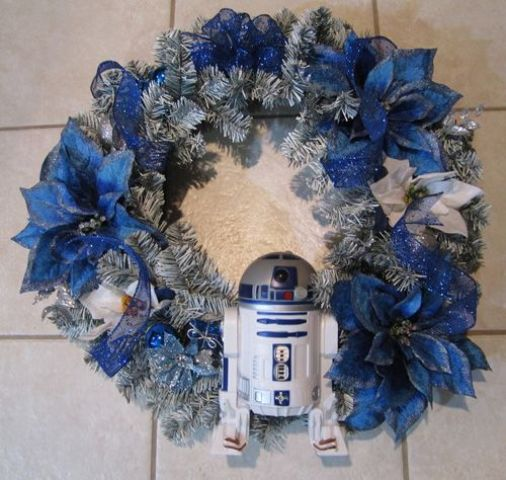 make your own silver and blue wreath and attach a small R2D2 to it