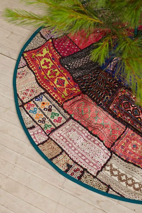 patchwork tree skirt has a strong boho feel