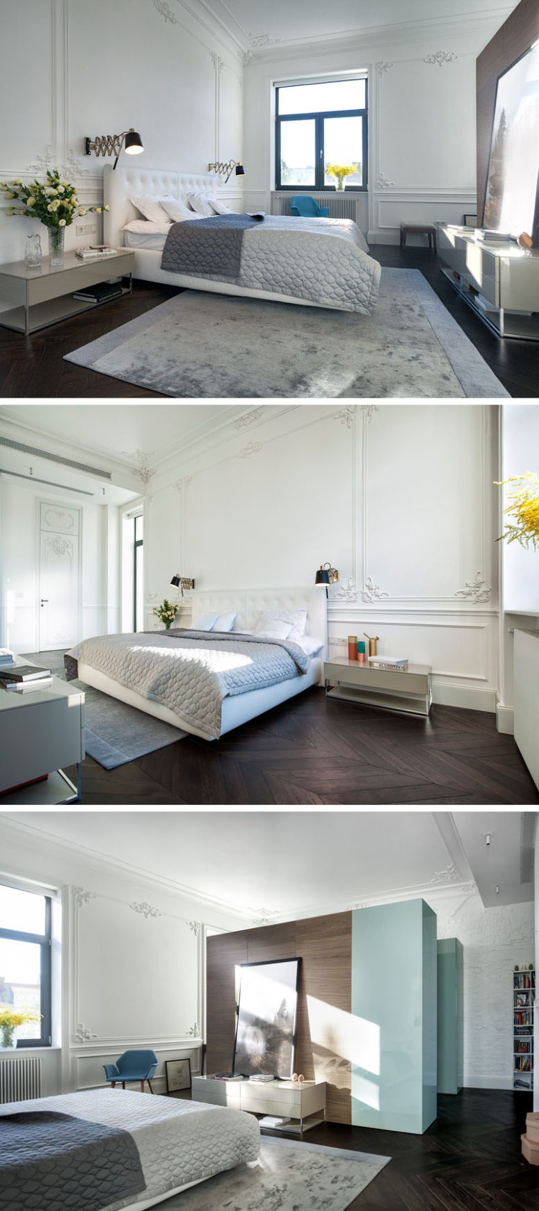 The bedroom decor is simple, neutral and cool, only the walls remind that it's a 19th century building