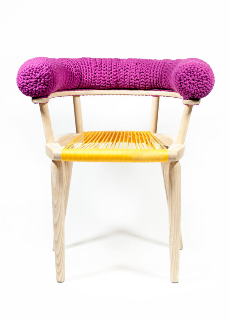 This chair boasts of a purple knit back and a yellow string seat