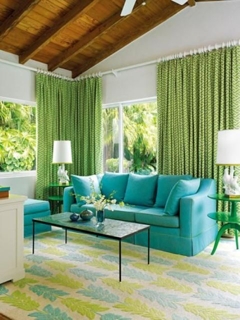bold living room decor with patterned greenery curtains