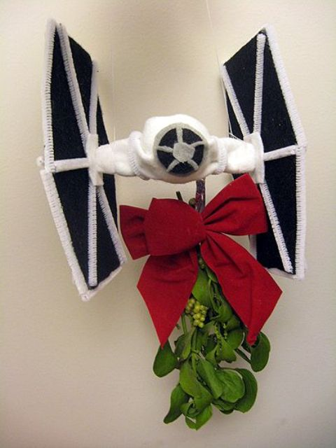 mistle-tie fighter with a large red bow