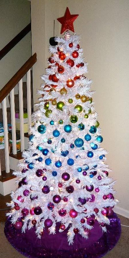 such colorful ornaments look amazing on a crispy white tree and stand out even more - Colorful Christmas Tree Decorations