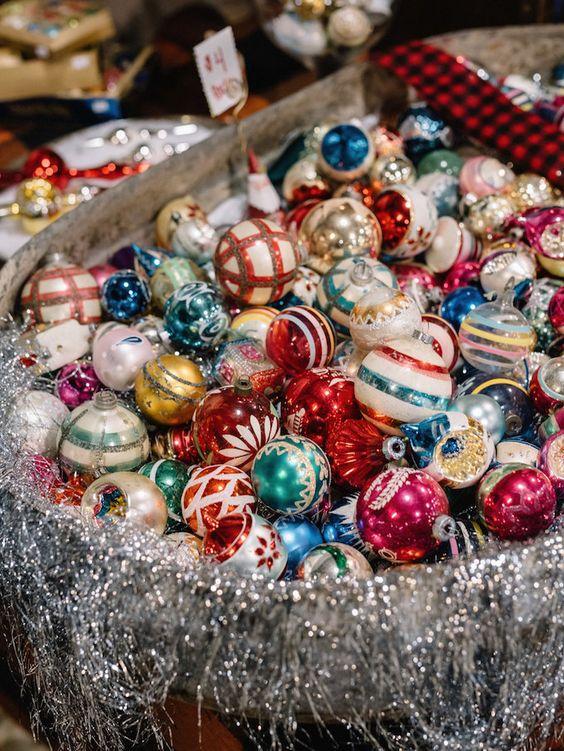 vintage ornaments in a galvanized bath