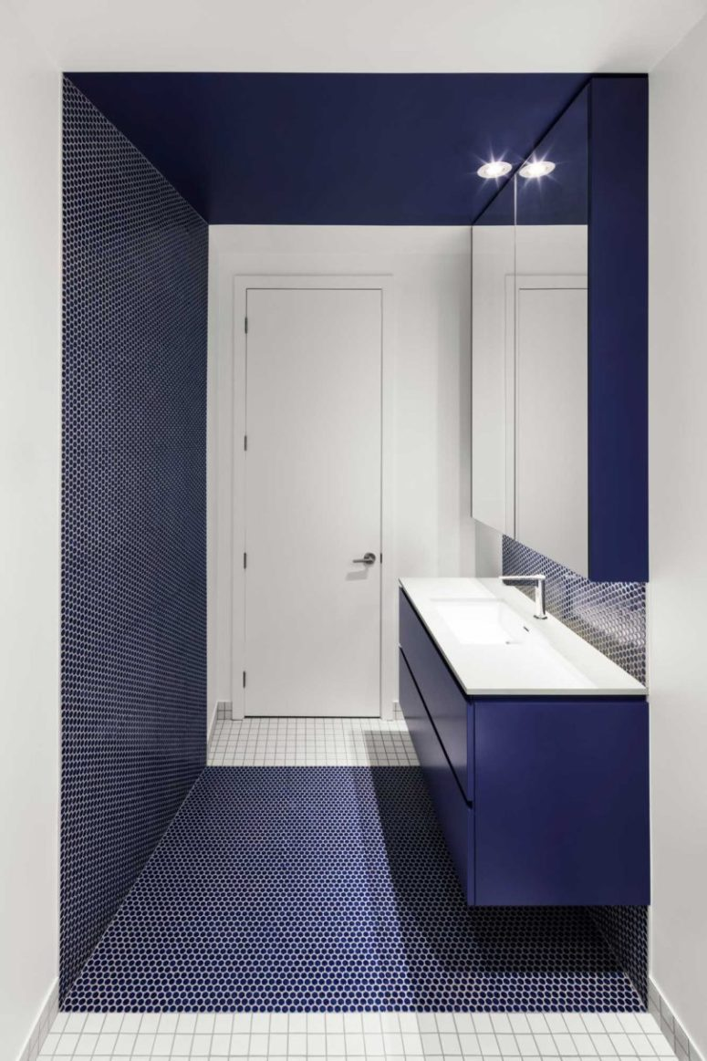 Another bathroom features the same penny tiles in navy color, again mixed with crispy white tiles