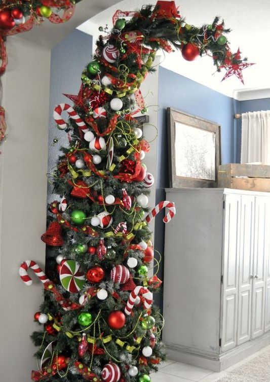 23 whimsical christmas trees and tree dcor ideas digsdigs grinch christmas tree in red green and white publicscrutiny